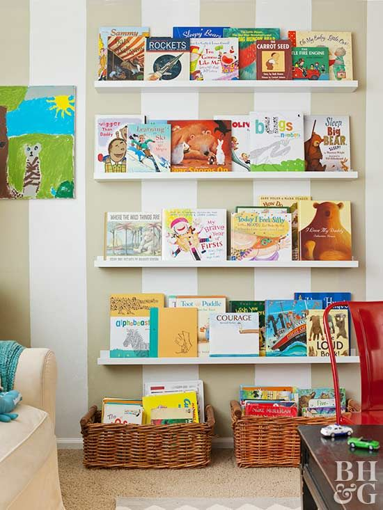 Books for children are so colorful and full of life. Take advantage of their playful covers by displaying them on a library wall stacked with narrow shelves.