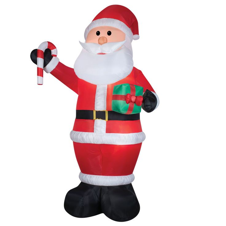 Gemmy Santa with Gift Christmas Inflatable Multicolored