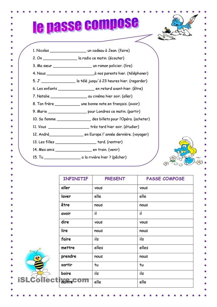 Grade 8 French Worksheets Passe Compose - passe compose ...