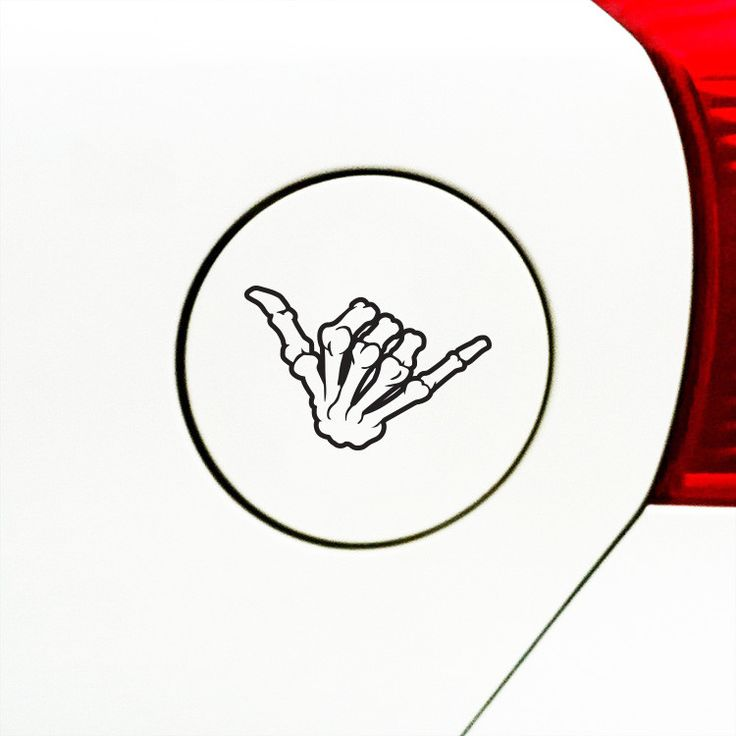 "GAS - Skeleton Hand SHAKA - Car Gas Cap Vinyl Decal Sticker (3.5""w x 2.25""h) © YYDC (Color Choices)"