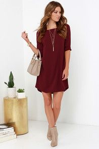 "With a dress as easy to wear as the BB Dakota Devin Burgundy Shift Dress. it will be hard to ever imagine yourself in anything else! Slip into this lightweight, woven poly-spandex number and fall in love with its wide, bateau neckline and modest three-quarter sleeves. The shift bodice is chic and relaxed as it descends to a subtle high-low hem. Unlined. Dress measures 2"" longer at back. 96% Polyester, 4% Spandex. Hand Wash Cold or Dry Clean."