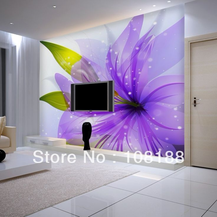 Purple Living Room Wall Murals | ... Mural Wallpaper Purple Chrysanthemum  Living Room Background Part 78