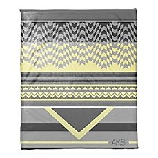 image of Mellow Yellow Checkered Personalized Throw Blanket in Grey