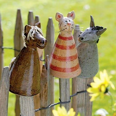 clay animals for stakes