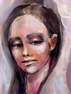 Lila-róż.... Anioł wycinany  angel acrylic painting on wood
