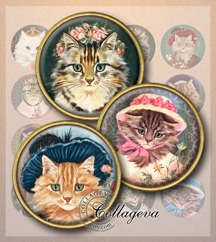 "Cat Ladies Digital Collage Sheet, Kitten Kitty Lace Bonnet Hat, Grandmother Vintage Victorian, 1.5"" 1.25"" 30 mm 25 mm 1 inch circles (EA03-c by collageva on Etsy"