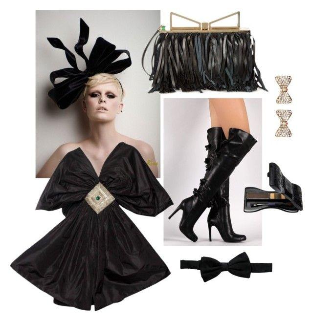 """Black & Bows"" by amritasinghjewelry ❤ liked on Polyvore featuring Amrita Singh, Sara Battaglia, Anna Sui, Giorgio Armani, black, Leather and bows"