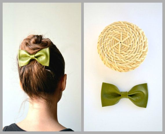 Olive green leather bow / Bow hair clip / Hair by LeatherDetails