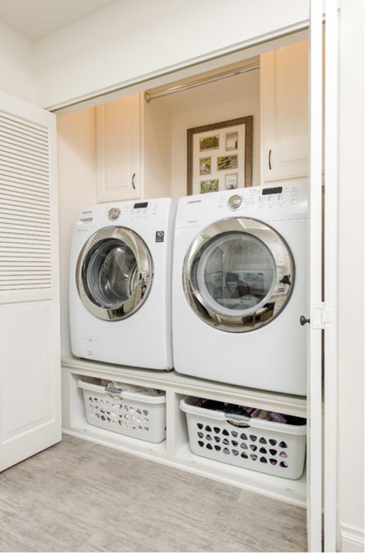 Space for laundry basket under front loading washer and dryer.  One washer should be large capacity top loading.