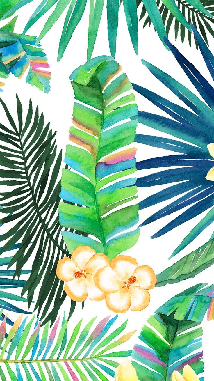 Wallpaper iphone tropical -  Tropical Floral Plant Vibes Iphone Wallpaper Or Background Watercolor Green