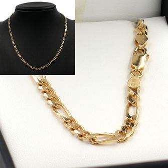50cm Yellow Gold Figaro Chain Necklace - GN-BFD123