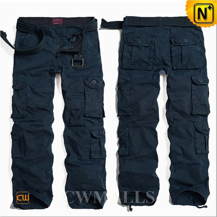 Our loose fit comfortable multi pockets navy blue long cargo pants for men  attached a belt, made from pure cotton fabric, 8 pockets design for  contemporary ...