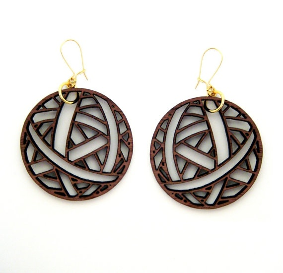 Yarn Ball Cutouts Wood Earrings