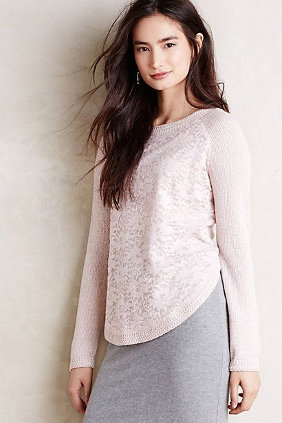 Laceveil Pullover #anthropologie for casual work day or to soften a navy pantsuit...