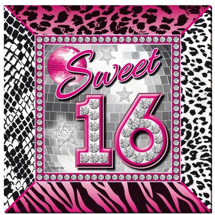 Sweet 16 servetten. De servetten hebben een dierenprint en zijn roze & zilver. Op de servetten staat de tekst sweet 16. Verpakt per 20 stuks. Formaat: ongeveer 25 x 25 cm