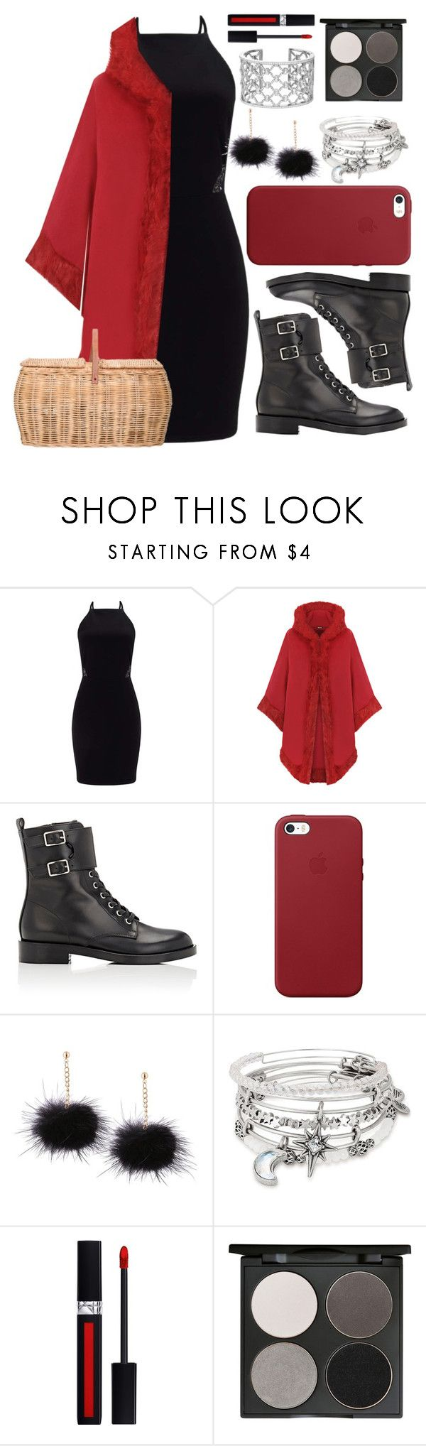 """Maloween Day 3: DIY Red Riding Hood Costume!"" by sisibff ❤ liked on Polyvore featuring Miss Selfridge, WearAll, Gianvito Rossi, Apple, Alex and Ani, Verdura, Christian Dior, Gorgeous Cosmetics and Bloomingville"