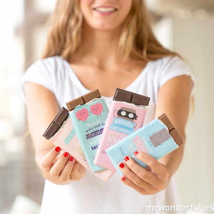 "Pack de 4 tabletas ""¡Arriba el chocolate!"" #mrwonderfulshop #chocolate #quotes #simoncoll"