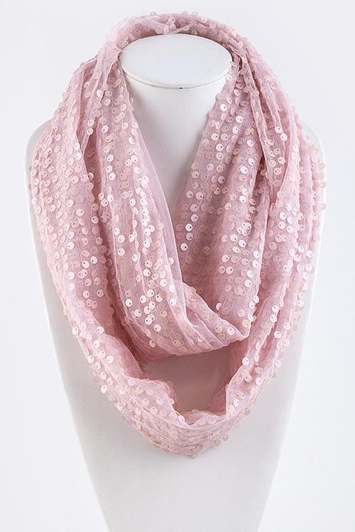 Pink Sequined Infinity Scarf.