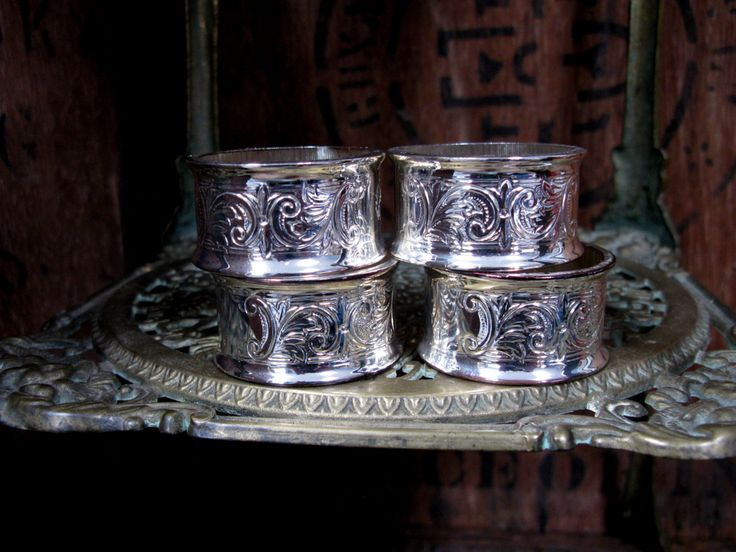Silver Napkin Rings, Set Of Napkin Rings, Engraved Napkin Ring, Four Napkin Rings, Napkin Holders, Vintage Napkin Rings, Dining Table by MissieMooVintageRoom on Etsy