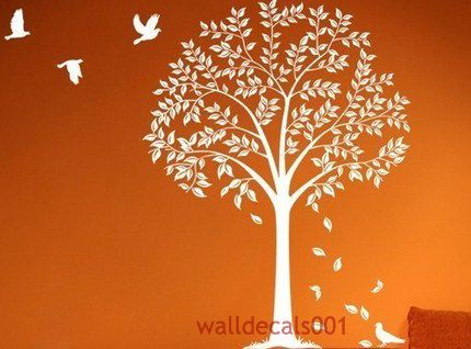 White tree wall decal wall stickers kids decal birds decal for Appliqu mural autocollant