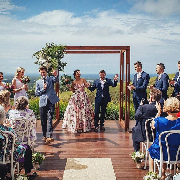 This banging image from DEUS Photography from Rachel & Scott's Horizon, Byron Bay wedding! This venue is incredible and this wedding was totally awesome = this moment in time! As you can see in this image the vibe was very high!!!  Styling The Wedding Shed Florals The French Petal HMUA Lady Bella Dress Wendy Makin Bridal Designs Planning Byron Bay Weddings