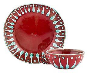 Tazza + piatto in ceramica forte Gloria rosso/azzurro - 21x12x21 cm