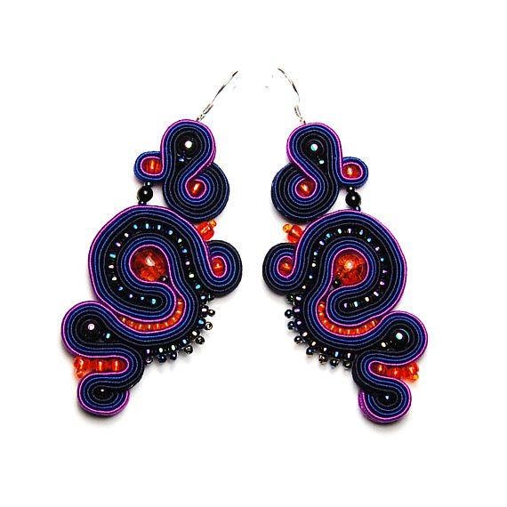 Soutache earrings navy dark blue purple orange shop jewelry