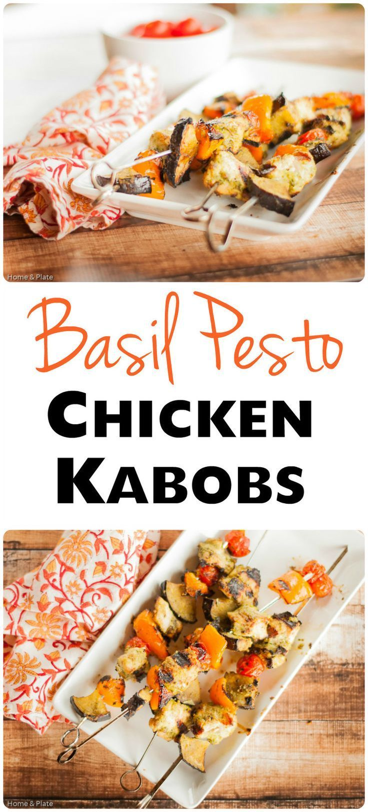 Basil Pesto Chicken Kebabs   Home & Plate   www.homeandplate.com   Basil. Pine nuts. Olive oil. Parmesan. Add it to chicken.Basil Pesto Chicken Kebabsare served!