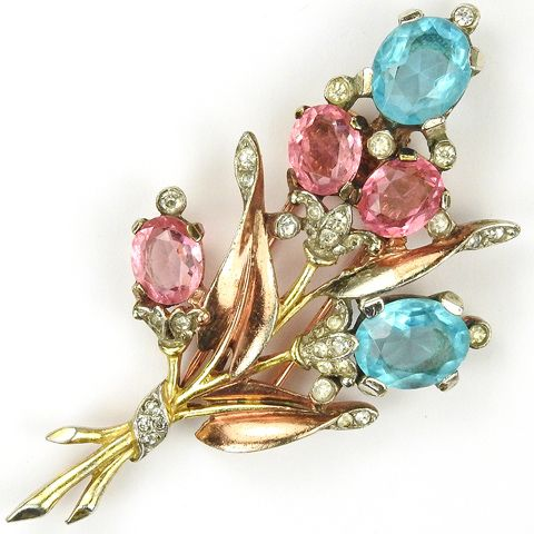 Trifari 'Alfred Philippe' Two Colour Gold Pave Pink Topaz and Aquamarine Floral Spray Pin Clip