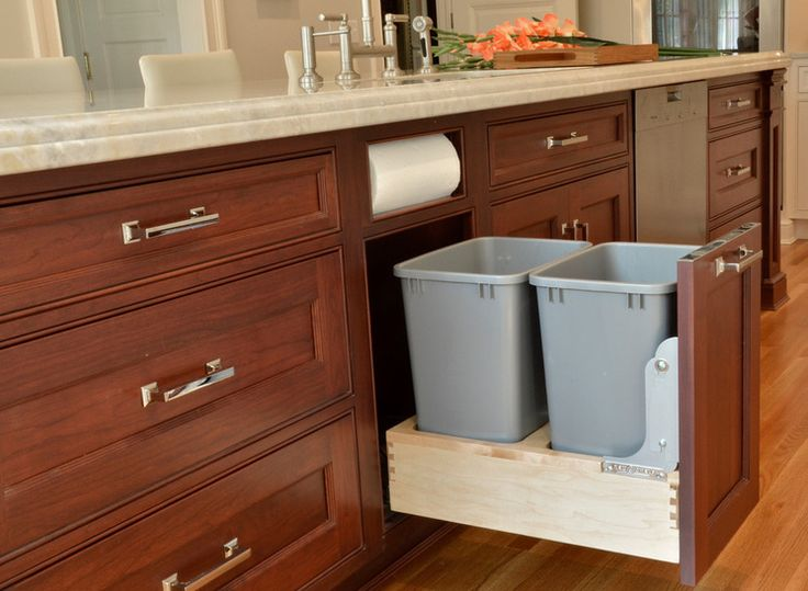 Built-in Trash/Recycling Cans and Paper Towel Holder