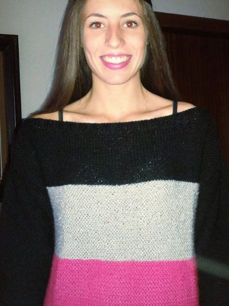 Απλή και όμορφη τρίχρωμη μπλούζα σε πλέξη μους της Ρ. Σεμινάριο Πλέξιμο με Βελόνες Α΄Κύκλος.