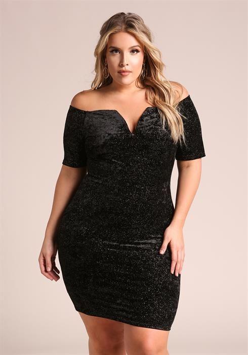 970d181d755b1 Plus Size Sparkle Velvet Off Shoulder Bodycon Dress