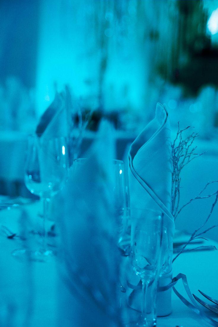 Frozen wedding reception in icy blue light. Poland by artsize.pl
