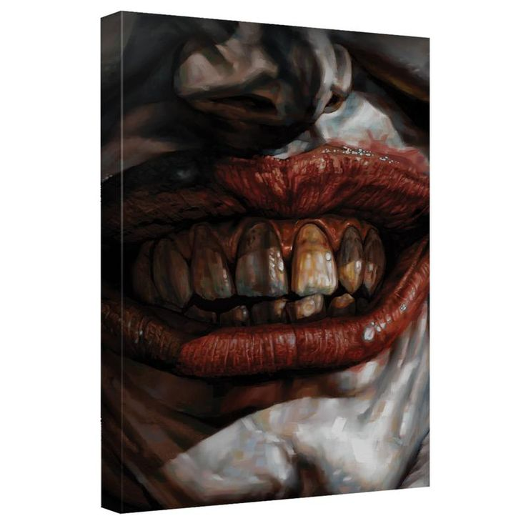 Batman - Joker Smile Canvas Wall Art With Back Board