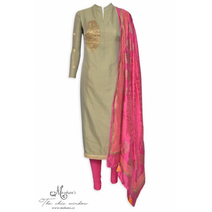 Stylish copper semi stitched suit featuring in paisley embroidery-Mohan's the chic window