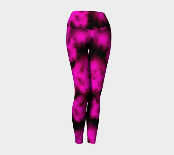 Pink and black yoga leggings yoga pants by Traceyleeartdesigns