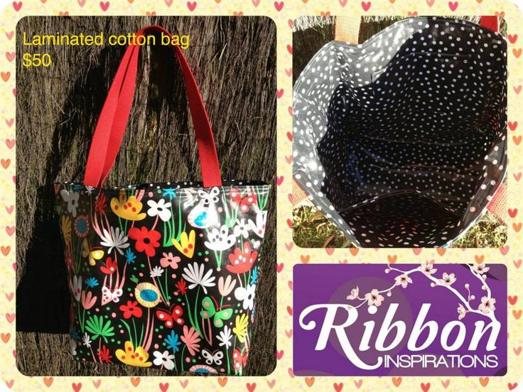 Handmade by Kate from Ribbon Inspirations. Laminated cotton tote/swim/beach bag