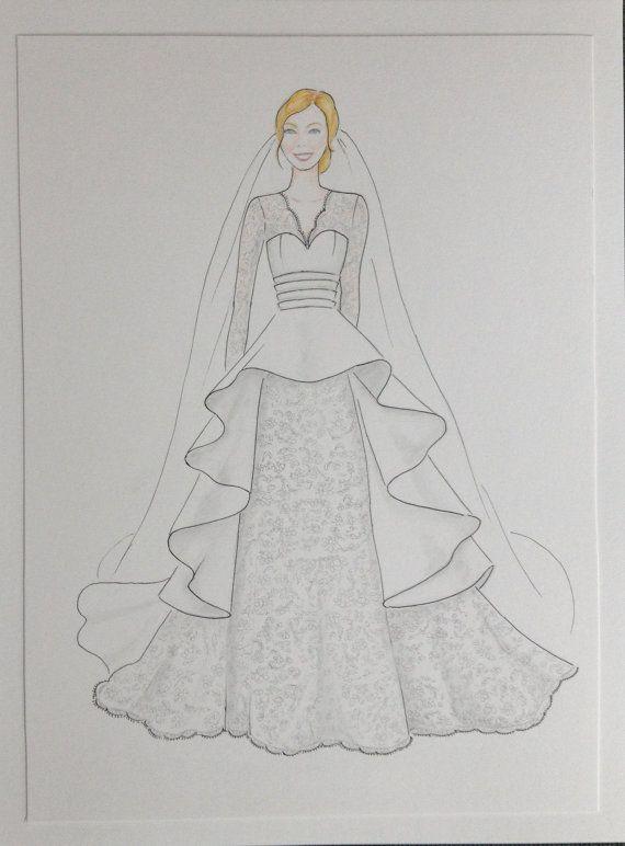 Custom wedding dress sketch bride with veil illustration by Zoia, $65.00