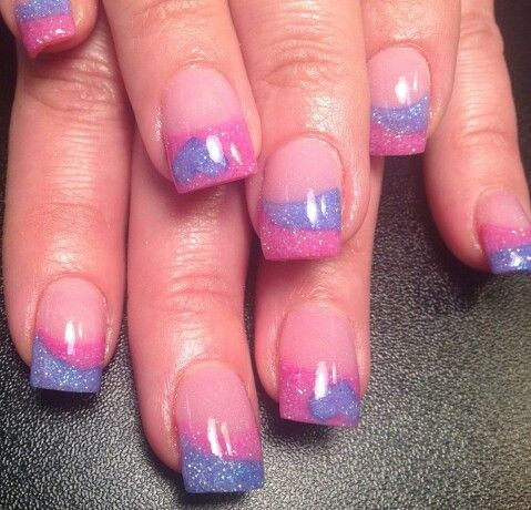 Pink and Purple Nails♥ with a cute heart♥