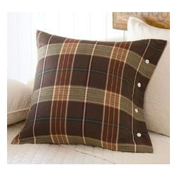 Plaid throw pillow - love the buttons on the side