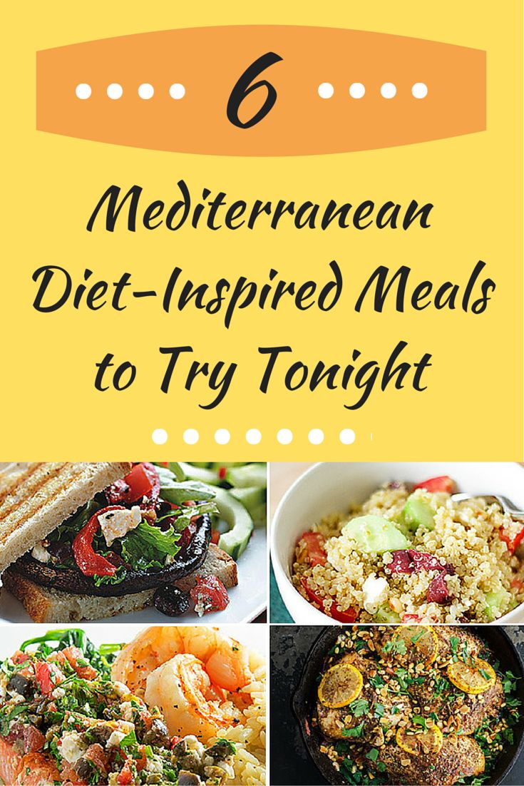 6 Mediterranean Diet-Inspired Meals - like Greek Quinoa Salad and Medterranean Salmon. #recipes