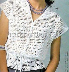 Филейная блузка. Воротник апаш. Схема вязания
