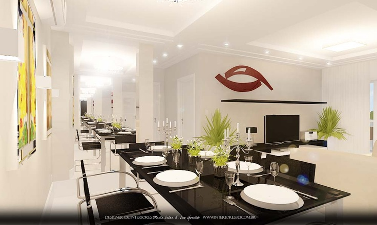 Projeto decora o de interiores sala de estar e jantar for Idea sala de estar cuadrada
