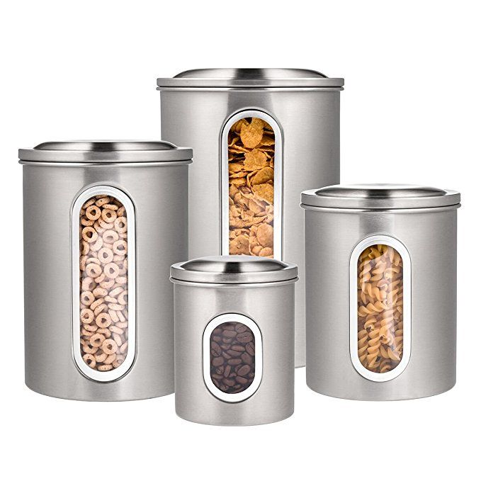 Deppon 4 Piece Canister Set With Airtight Lids And Plexi Glass Window Stainless Steel Airtight Storage Stainless Steel Canisters Stainless Steel Canister Set