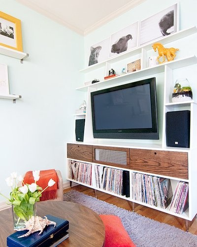 Awesome custom media cabinet. Kim & Scott's Yellow Brick Home, via Apartment Therapy's Small/Cool 2011.