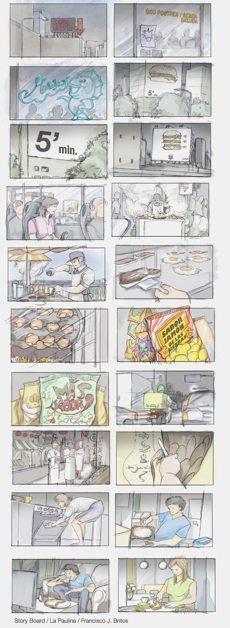 storyboard for advertising LA PAULINA