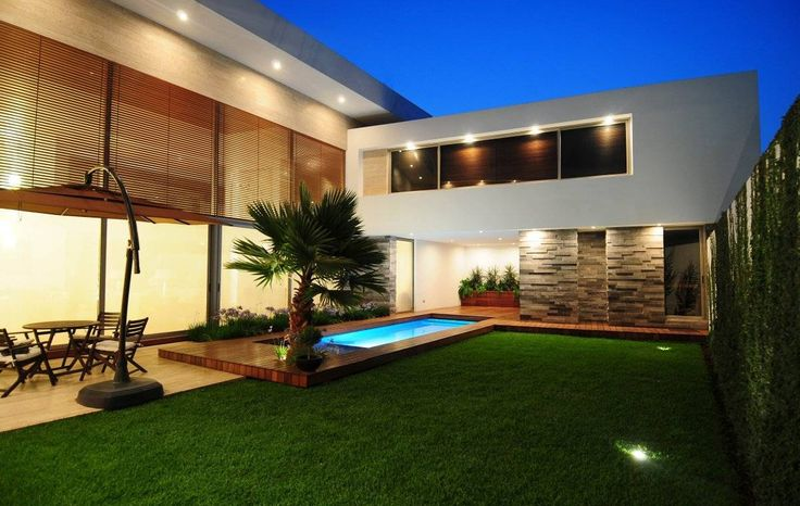 Modern Backyard With Small Pool And Outdoor Recessed Lighting  The Advantages Of Outdoor Recessed Lighting Check more at http://www.bonsaikc.com/the-advantages-of-outdoor-recessed-lighting/