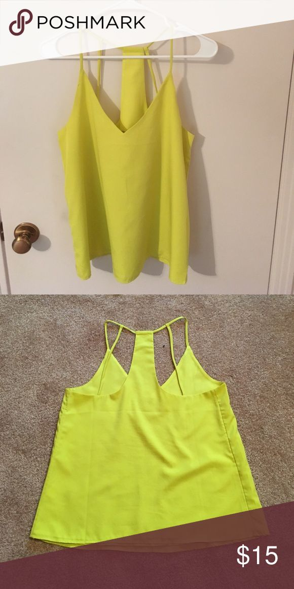 Neon Yellow Tank Top Fun and flirty neon yellow v-neck tank from banana republic. Sexy neckline and straps on back. Perfect for a fun night out of the town! Size small, in great condition! Banana Republic Tops Tank Tops