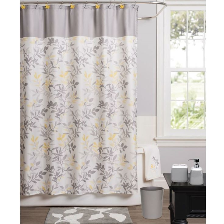 Modern Trellis Leaf Yellow Grey Beige Polyester Fabric Shower Curtain