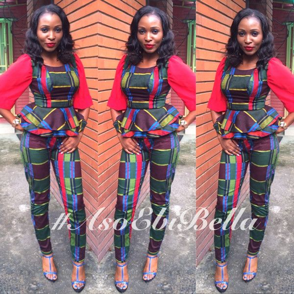 Funmi Print Peplum Sleeved Top and Matching Pants by Zizibespoke
